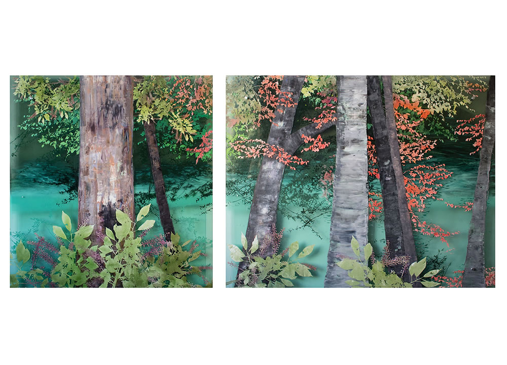 Riverside, diptych, oil on layered acrylic sheet, 48 x 107 inches, painting by Cara Enteles