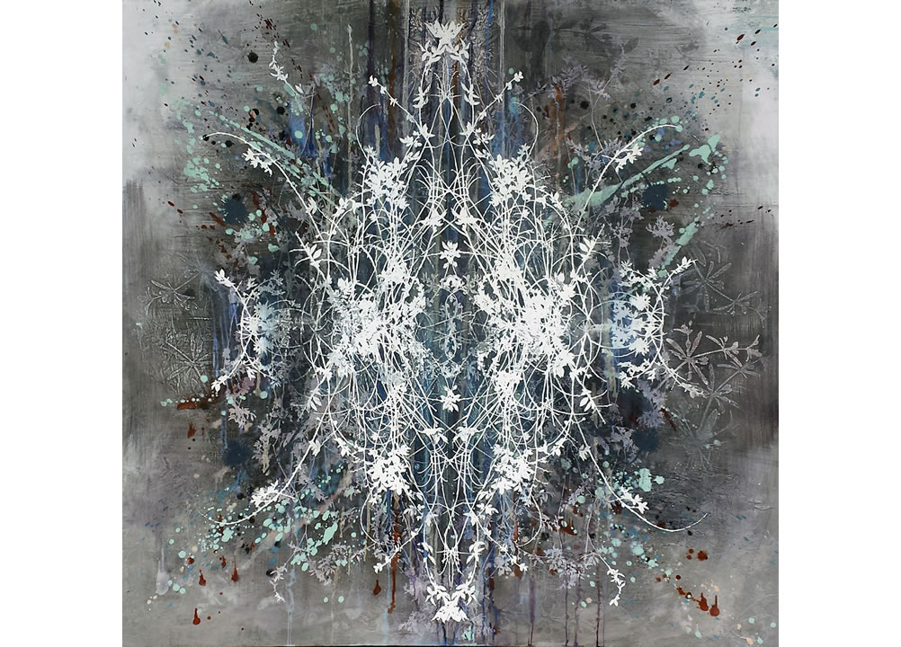 Winter Has Come Mandala, oil and silkscreen on aluminum, 48 x 48 inches, painting by Cara Enteles