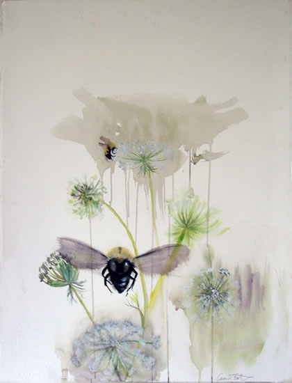watercolor, Bees by Cara Enteles