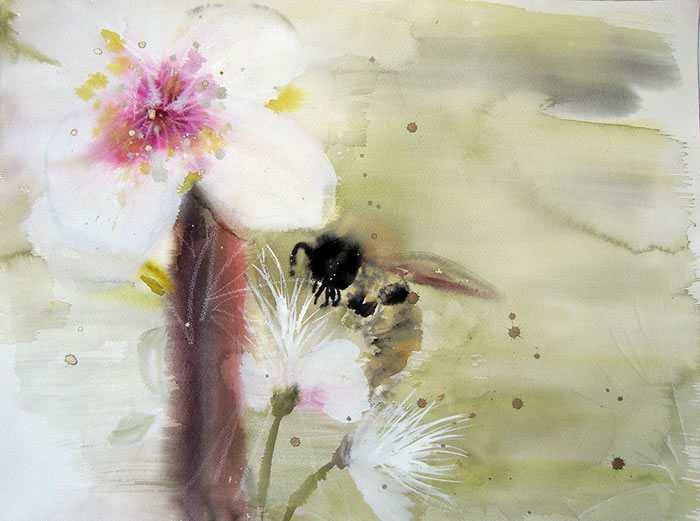 watercolor, Bee Pollinating Apple Tree by Cara Enteles
