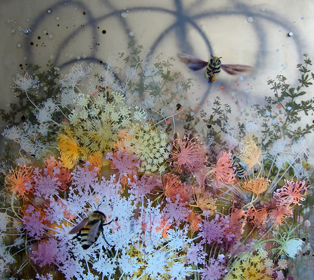 painting, Bees in the Field  by Cara Enteles