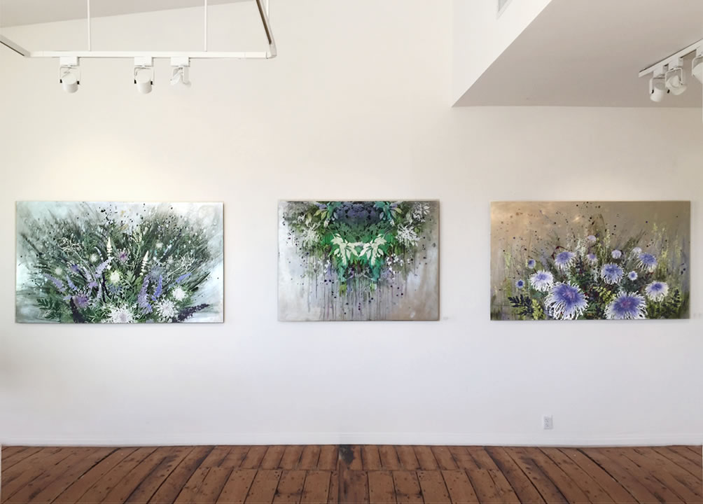 Installation view of Cara Enteles paintings in 'Good Nature' exhibtion at Amy Simon Fine Art