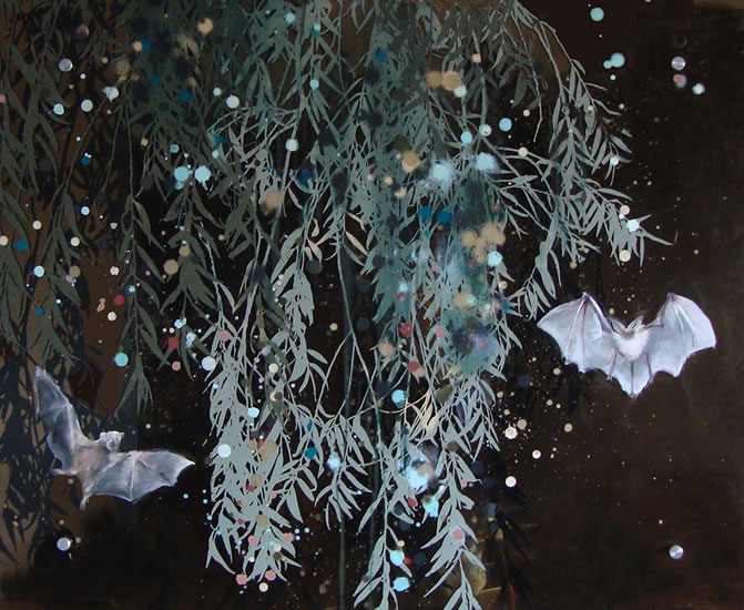 painting, Night Pollinators and Night by Cara Enteles