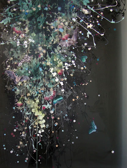 painting, Nocturnal Pollination by Cara Enteles