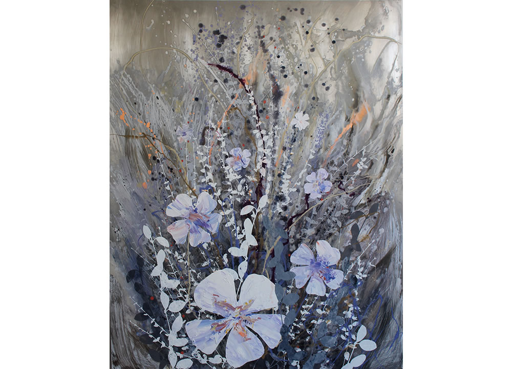 Periwinkle Blues, oil and silkscreen on aluminum panel, 60 x 48 inches, painting by Cara Enteles