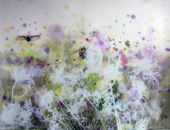 watercolor, Pollinating Wild Flowers by Cara Enteles